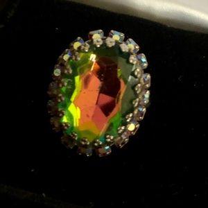 60s vtg crystal cocktail ring